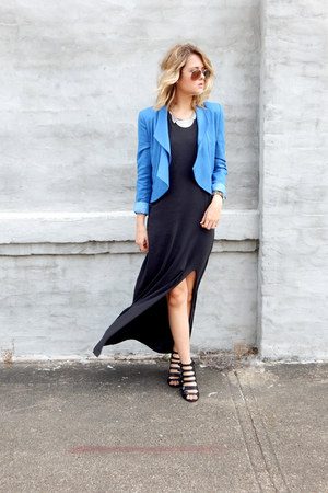 sky blue Costa Blanca blazer - charcoal gray flowy maxi h&m divided dress