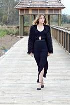 black maxi MinkPink dress - black faux fur Urban Outfitters jacket