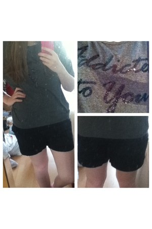 black Penneys t-shirt - H&M shorts - grey glittery Forever 21 top
