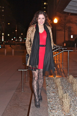 ruby red Urban Outfitters dress - tawny leopard print H&M coat