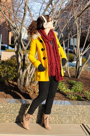 toggle H&M coat - lace-up Forever 21 boots - plaid Forever 21 shirt - H&M scarf