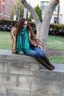 Brown-fur-h-m-coat-blue-old-navy-jeans-magenta-h-m-sweater
