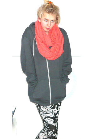 orange American Apparel scarf - gray American Apparel jacket - white H&M legging