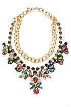 Iridescent Gem Medallion Statement Necklace
