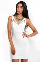 white Slimskii dress - turquoise blue Slimskii necklace