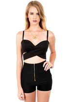 Black Cross Front Bandeau Crop Top