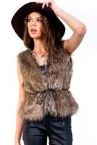 Posh Belted Faux Fox Fur Vest