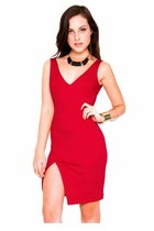 red high slit tank Solemio dress - black Slimskii necklace