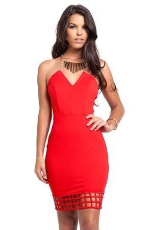 red caged strapless Slimskii dress - gold Slimskii necklace