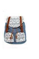 Lace Overlay Striped Denim Backpack