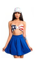 Flag Print Bow Scuba Bandeau Top