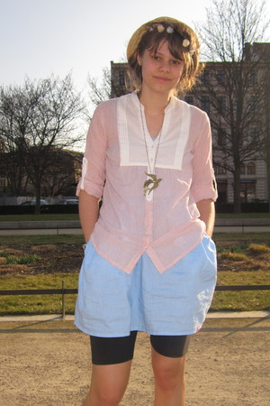 light pink blouse - light blue dress - beige hat - bronze necklace