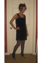 black Flapper dress - silver Charlotte Russe shoes