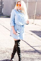 light blue denim Forever 21 dress - black thigh high cicihot boots