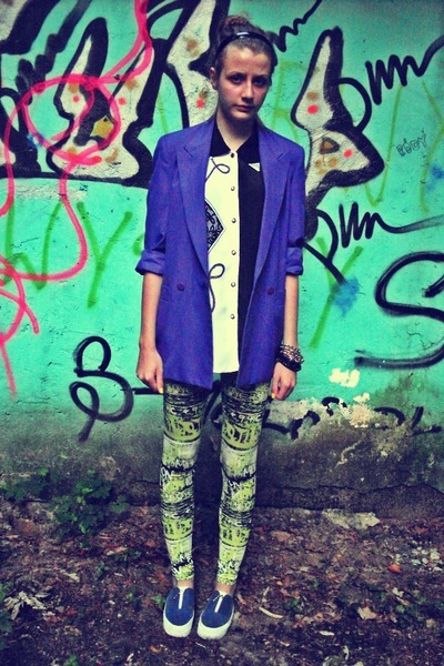 purple SH jacket - blue no name shoes - lime green cropp leggings