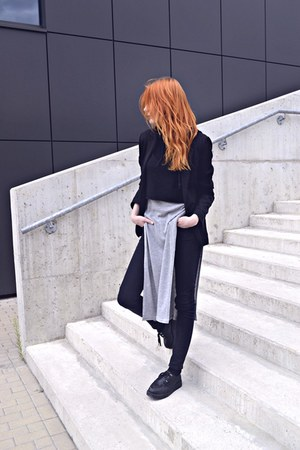 black creepers deezee shoes - black Amisu blazer - black skinny H&M pants