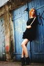 Black-feathers-stradivarius-skirt-black-second-hand-top