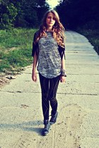 white River Island top - heather gray Deichmann boots - black DIY leggings