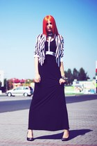black maxi dress second hand dress - white H&M jacket