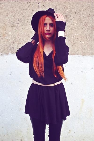 black DIY coat - black Reporter hat - black second hand sweater