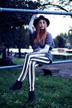 white striped handmade pants - black Deichmann boots - light blue reserved top