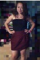 red skirt - black dress