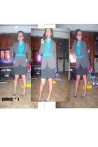 gray skirt - gray shoes - blue blouse - blue earrings