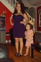 purple dress - black shoes