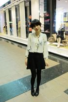 white Topshop blouse - black American Apparel skirt - black Topshop tights - bla
