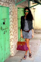 leather IRO jacket - H&M bag - green Loubsol sunglasses