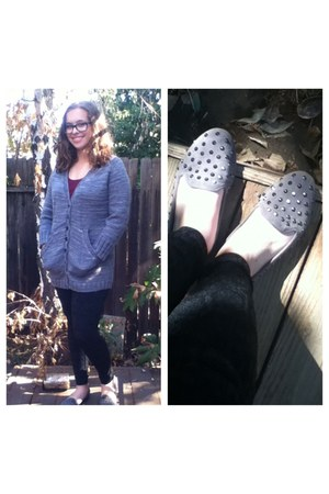 gray sweater - gray leggings - gray Accessorize flats