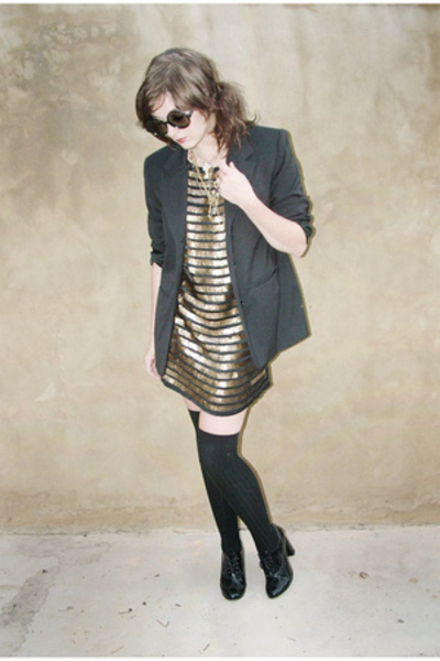 blazer - dress - tights - forever 21 shoes
