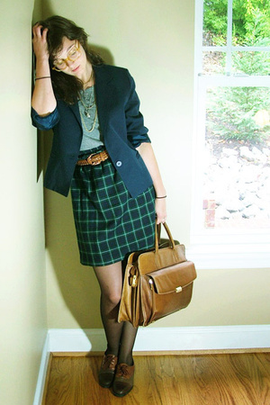gray dress worn as aa shirt - blue thrifted navy blazer - green skirt