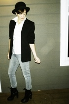 hat - vintage blazer - shirt - H&M jeans - Guess boots
