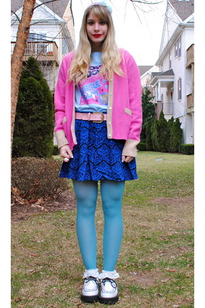 blue skirt - white creepers shoes - bubble gum J Crew cardigan - light pink belt