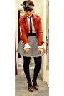 Red-pimkie-jacket-white-new-look-skirt