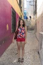 blue Bershka top - burnt orange Seaside bag - hot pink Bershka shorts