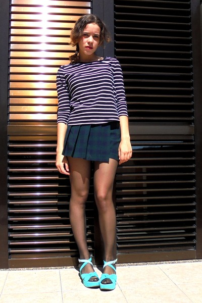 black stripes Zara shirt - dark green tartan Zara shorts