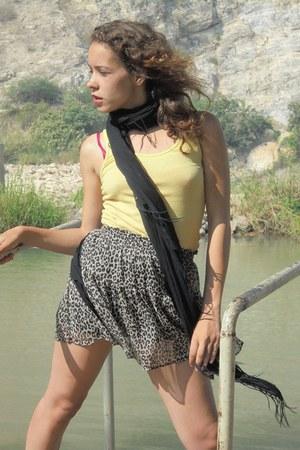 dark khaki Timberland boots - black Parfois scarf - dark khaki Zara skirt