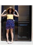 dark brown Piz Buin hat - dark brown Mango belt - gold mo top - navy mo skirt