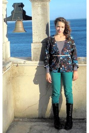navy Bershka vest - black Levis boots - turquoise blue Stradivarius jeans