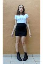white Bershka t-shirt - black Stradivarius boots - dark gray Stradivarius skirt