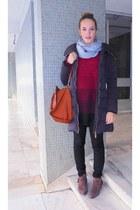 brown suede Mango boots - black Zara coat - black Mango leggings