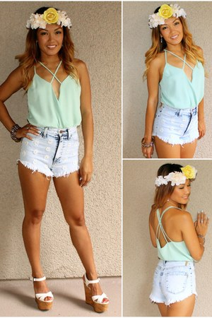 aquamarine Social Butterfly House bodysuit - white cork Steve Madden wedges