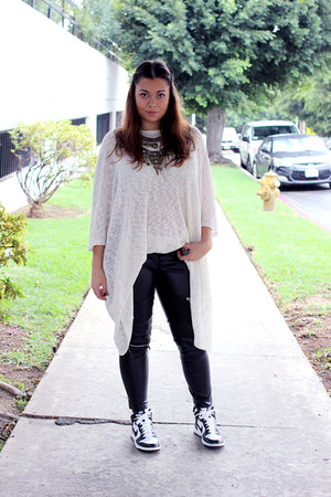 cream Angl sweater - bronze Angl necklace - black leather Zara pants