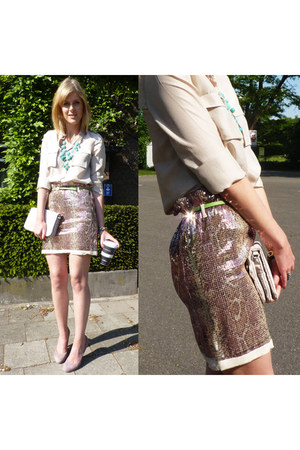 Pinko skirt - COS blouse - beige COS blouse