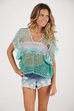 ombre crochet Soie Shop top