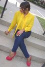 Navy-jeans-forever-21-jeans-red-heels-urbanog-heels-yellow-blouse-thrifted-v