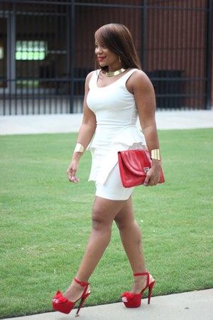 white papaya dress - red Shoeland heels