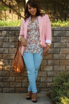 bubble gum thrifted blazer - sky blue f21 jeans